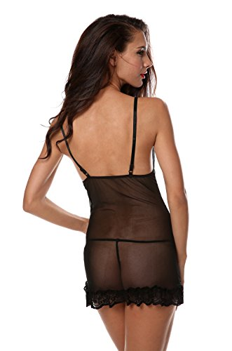 Avidlove Women's See-Through Lace Lingerie Sexy Chemise Sleepwear with G-String