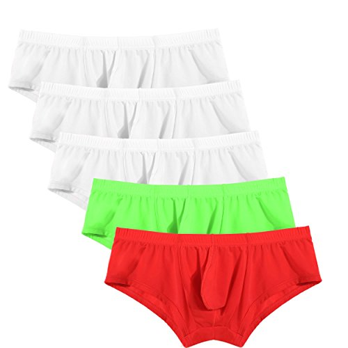 Avidlove Men Underwear Silk Briefs Sexy Bikinis 5 Pack Multi color Underpants For Sex