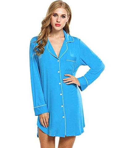 Avidlove Womens Sleep Shirt Luxury Sleepwear Long Sleeve Button-Front Nightshirts