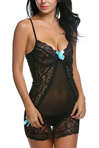 Avidlove Bow-Knot Lace Cross Straps Hollow Out Chemise