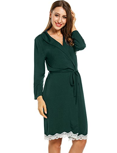 Avidlove Womens Bathrobe Three Quarter Sleeve Robe Cotton Comfort Sleepwear