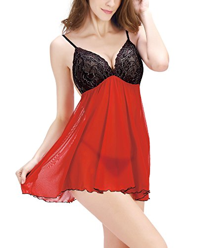 Avidlove Women's Babydoll Sexy Lingerie Lace Splicing Chemises with G-String
