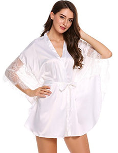 Avidlove Womens 3/4 Bat-Wing Sleeve Lace Patchwork Satin Robe