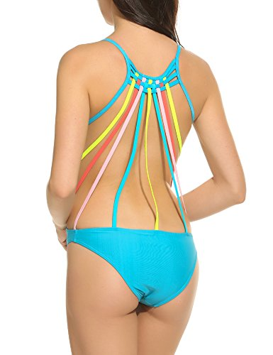 Avidlove Women's One Piece Deep-V Neck Swimsuits Bathing Suit Colored Straps