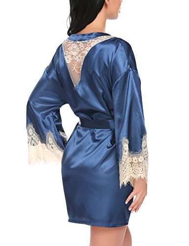 Avidlove Satin Kimono Robe for Women Pure Color Short Lace Bathrobes Sleepwear
