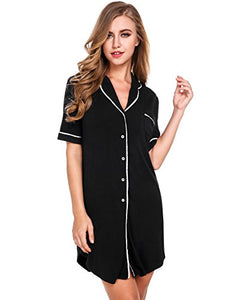 Avidlove Womens Short Sleeve Pajamas Top Luxury Boyfriend Sleepshirt Dress Sleepwear