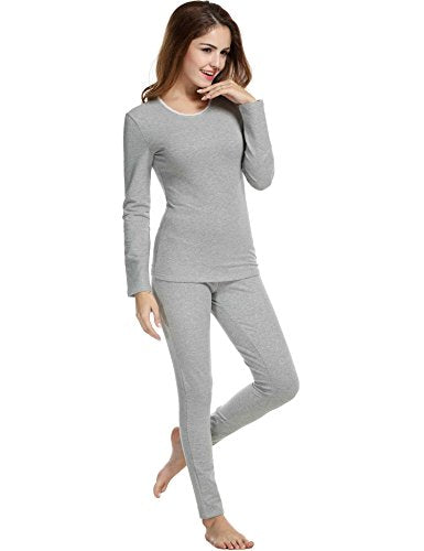 Avidlove Womens Lace Cotton Soft Long John Underwear Set Top and Bottom Fleece Thermal Set
