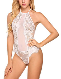 Avidlove Womens Sexy One Piece Lace Teddy Lingerie Sheer Halter Bodysuit Chemise