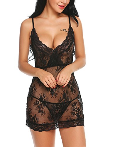 Avidlove Sexy Lingerie Womens Lace Floral Adjustable Spaghetti Strap Chemise Sleepwear