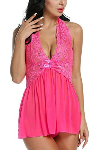 Avidlove Women Lingerie See-Through Outfits Halter Babydoll Double Bowknot Chemise Rose Red L