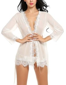 Avidlove Sexy Robes for Women Lace Short Kimono Nightgown Lingerie Set