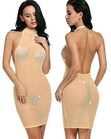 Avidlove Womens Sexy Halter Backless Sequins Bodycon Clubwear Bodysuit Dress
