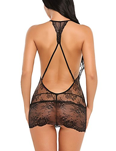 Avidlove Women Babydoll Lingerie Lace Chemise Halter Nightwear Teddy Dress
