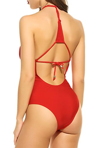 Avidlove Women Deep V Neck Swimsuit Halter Monokini Swimwear