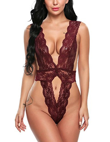Avidlove Women Sexy Lingerie One Piece Babydoll Hollow Out Deep V Neck Lace Outfits