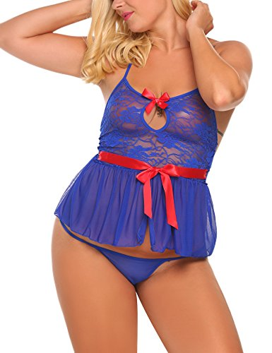 Avidlove Plus Size Women Sexy V-Neck Keyhole Mesh Lace Lingerie Night Dress With G-String