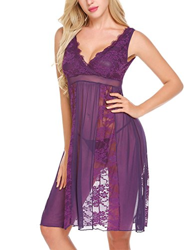 Avidlove Women's Sexy Long Lace Lingerie Nightdress Sheer Gown Chemise