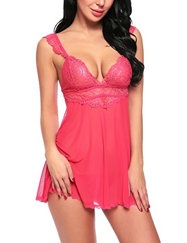 Avidlove Babydoll Lingerie for Women Sexy Lace Outfit 2 Pieces Set Chemises