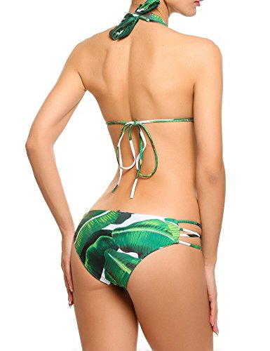 Avidlove Women's Sexy Halter Bikini Set Two Piece Padded Floral Print Swimsuits