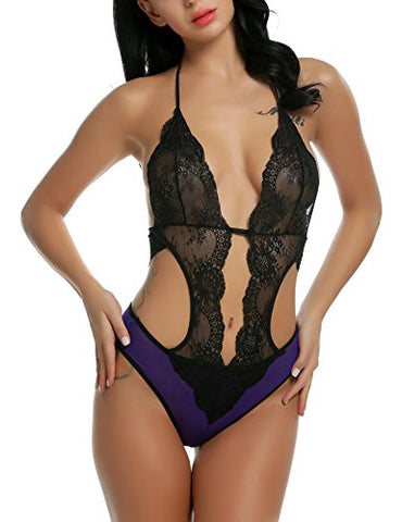 Avidlove Women Sexy Lingerie One Piece Halter Lace Bodysuit Teddy