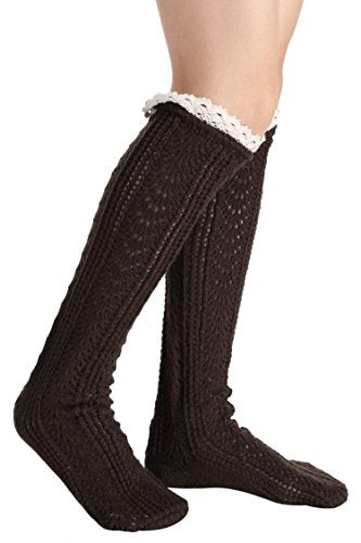 Avidlove Button Boot Cuffs Lace Trim Long Wool Knitted Socks Leg Warmers