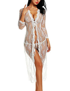 Avidlove Sexy Lingerie Gown Long Lace Nighdress See Through Nightgown Cover ups S-XXL