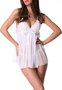 Avidlove Women Sexy Lace Babydoll Lingerie Set Splicing Nightwear Dress