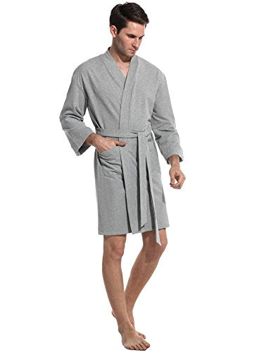 Avidlove Mens Spa Hotel Bathrobe Kimono Robe Long Lightweight Loungewear