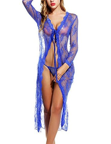 Avidlove Sexy Lingerie Gown Long Lace Nighdress See Through Nightgown Cover ups
