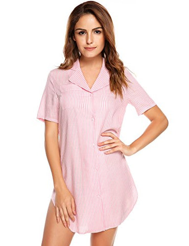 Avidlove Womens Nightshirt Short Sleeves Pajama Top Boyfriend Shirt Dress Nightie Sleepwear