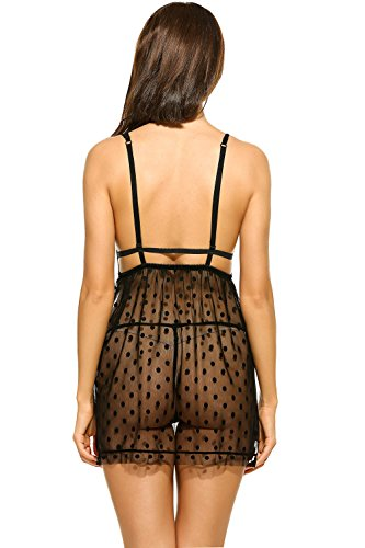 Avidlove Sexy Lingerie For Women Dots Mesh Babydoll Set Lace Chemise Negligees Sheer Nightgown