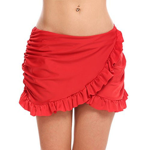 Avidlove Swim Skirt Womens Stylish Overlapping Ruffle Skirts Solid Bikini Bottom Built-In Brief