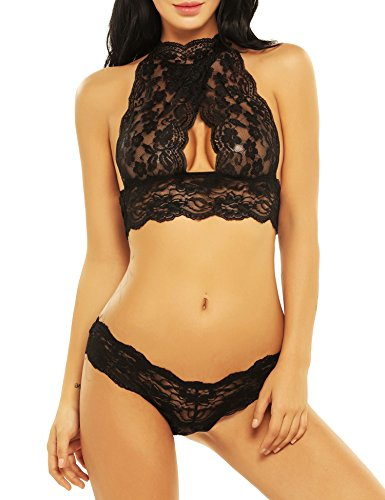 Avidlove 2 Piece Lingerie for Women High Neck Halter Bralette and Panty Lingerie Set