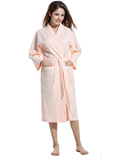Avidlove Men Women Soft Waffle-Weave Bathrobe Kimono Spa Hotel Cotton Robe Sleepwear, Pink, Medium