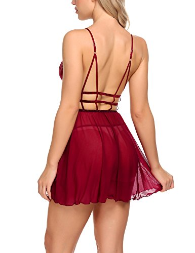 Avidlove Sexy Lingerie Nightgown for Women Lace Up Babydolls Mesh Chemises Backless Nightie