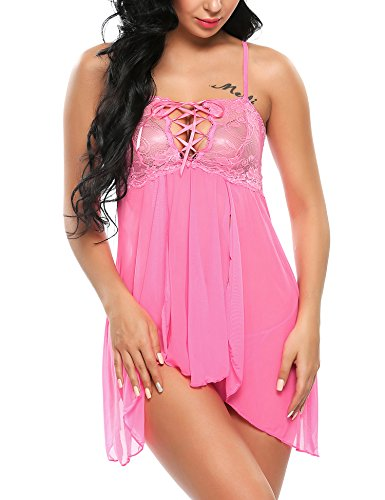 Avidlove 2 Piece Set Lingerie for Women Sexy Mini Babydoll Chemises Nightwear