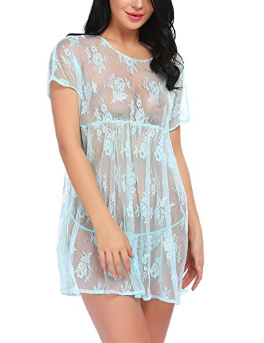 Avidlove Women Babydoll Lingerie Set Sexy Lace Chemise Dress High Neck See-Through Nightgown