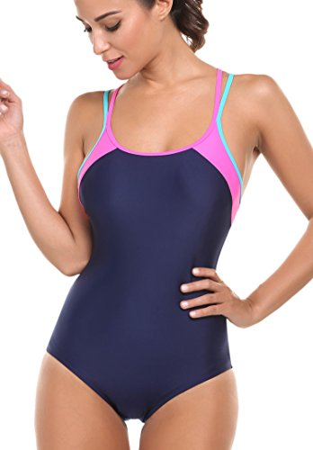 Avidlove One Piece Swimsuit Womens Splice Dual Crossback Athletic Bathing Suit