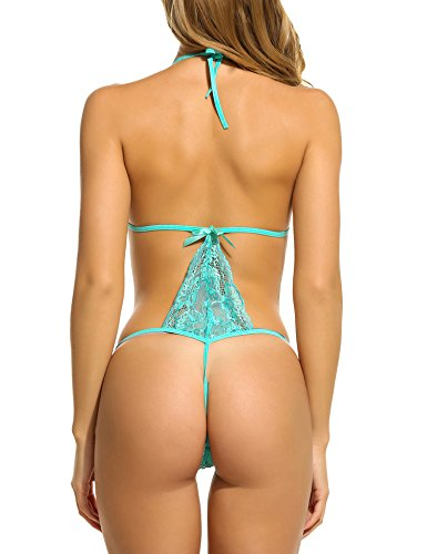Avidlove Sexy Lingerie For Women Teddy Nightwear Lace Babydoll Bodysuit Green XL
