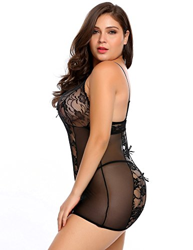 Avidlove Plus Size Women's Sexy Lingerie Stretch Mesh Lace Chemise and Thong Set