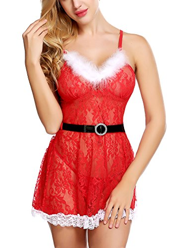 Avidlove Sexy Valentine's Lingerie Red Babydoll Chemise Lace Nightdress