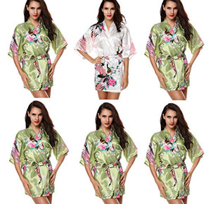 Avidlove Modern Bath Silk Bridesmaid Peacock Kimono Robe 6 Packs