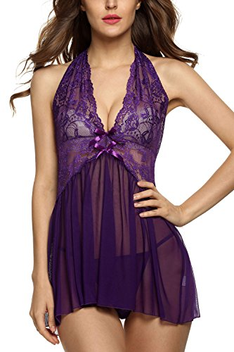 Avidlove Women Sexy Lingerie See-through Babydoll Halter Double Bowknot Chemise
