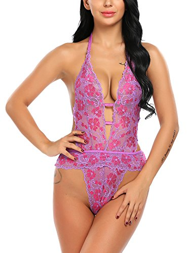 Avidlove Deep V Halter Teddy Lingerie for Women One Piece Bodysuit Babydoll Lace Flower Sleepwear
