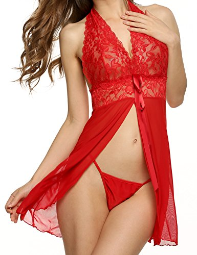 Avidlove Women Lace Babydoll Lingerie Halter Sheer Chemise Pajama Dress Open Front Nightgown