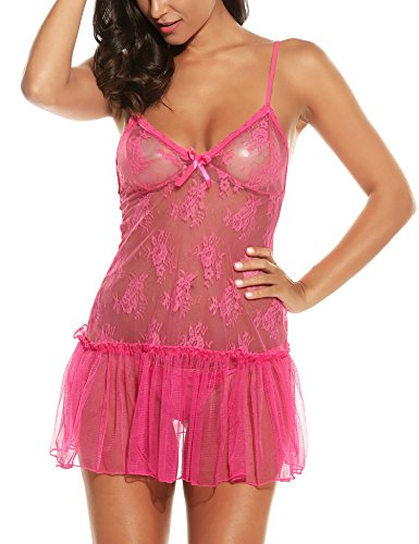 Avidlove Women Sexy Lingerie Mini Babydoll Sleepwear Strappy Lace Chemises Dress