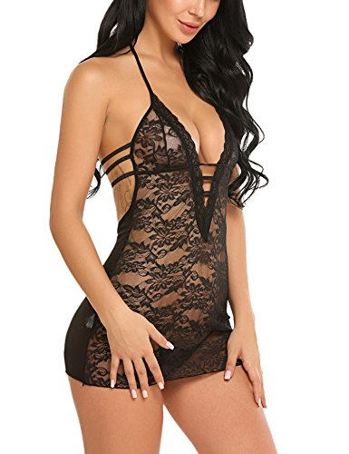 Avidlove Women Lace Lingerie Halter Chemise Floral Babydoll Sexy Nightie Dress