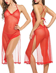 Long Lace Lingerie Forky Nightwear Dots Mesh Babydolls Chemises