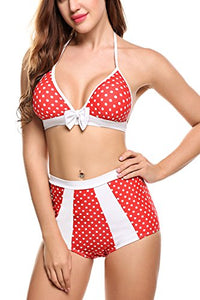 Avidlove Women Vintage Swimsuits High Waisted Bathing Suit Halter Polka Dot Bikinis