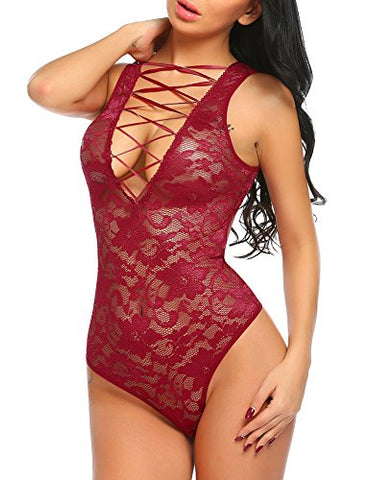 Avidlove Women Sexy Teddy Lingerie One Piece Lace-Up Teddy Bodysuit